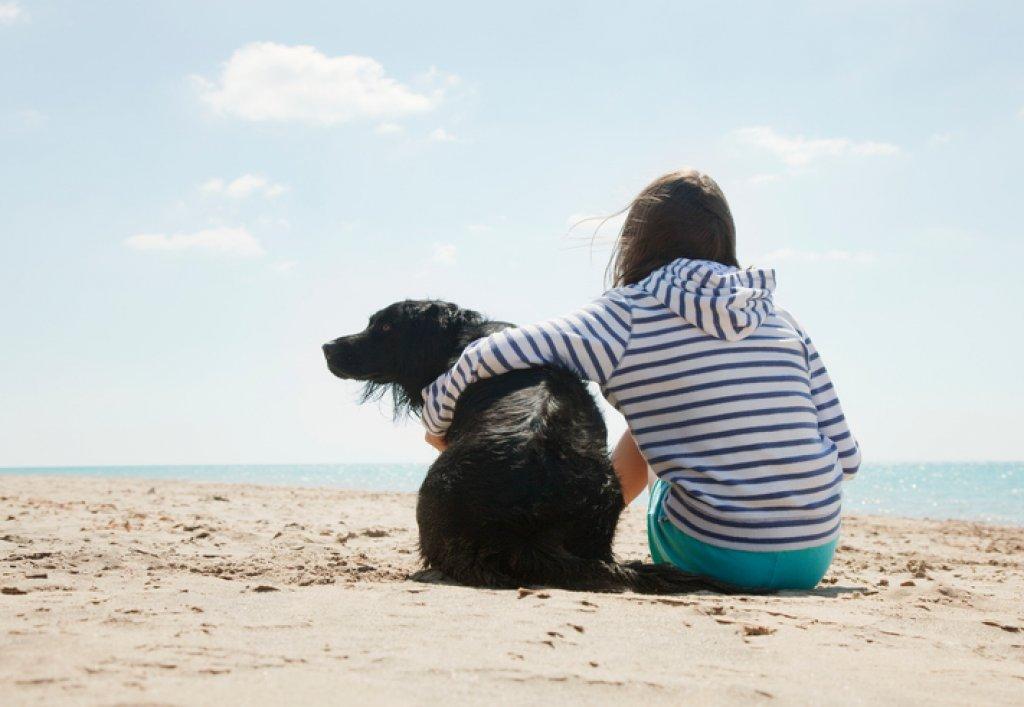 Flicka vid stranden med hund