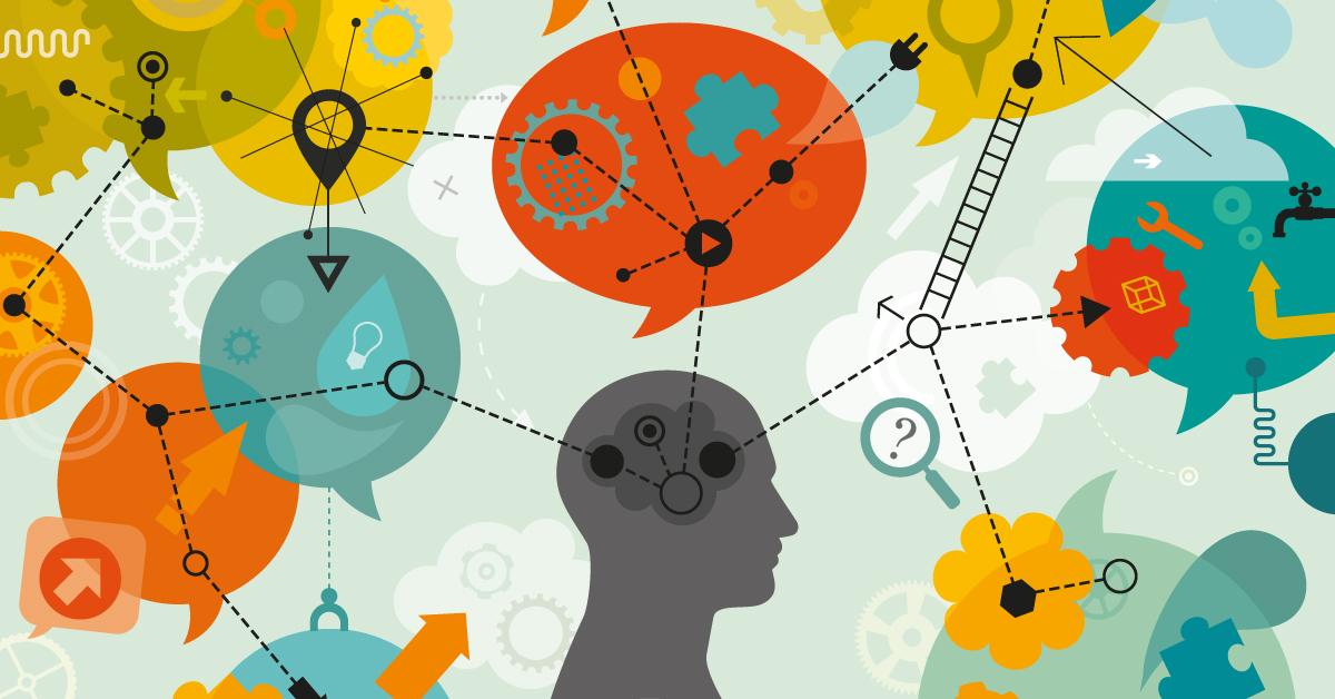Grafisk bild med huvud och tankebubblor som illustrerar en artikel om rationellt tänkande och bättre beslut – Framfot företagsutbildning.