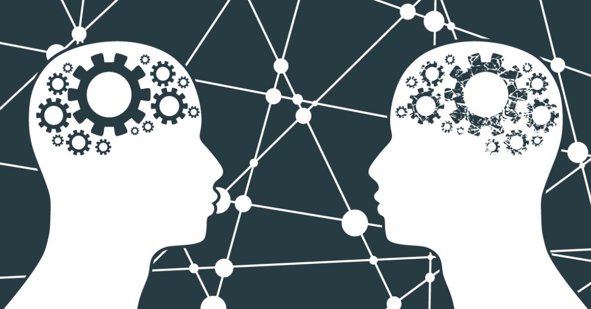 Grafisk bild som visar hur spegelneuroner har betydelse i människors ordlösa kommunikation – Framfot företagsutbildning.