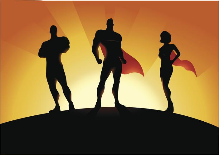 Tre tecknade superhjältar i siluett.