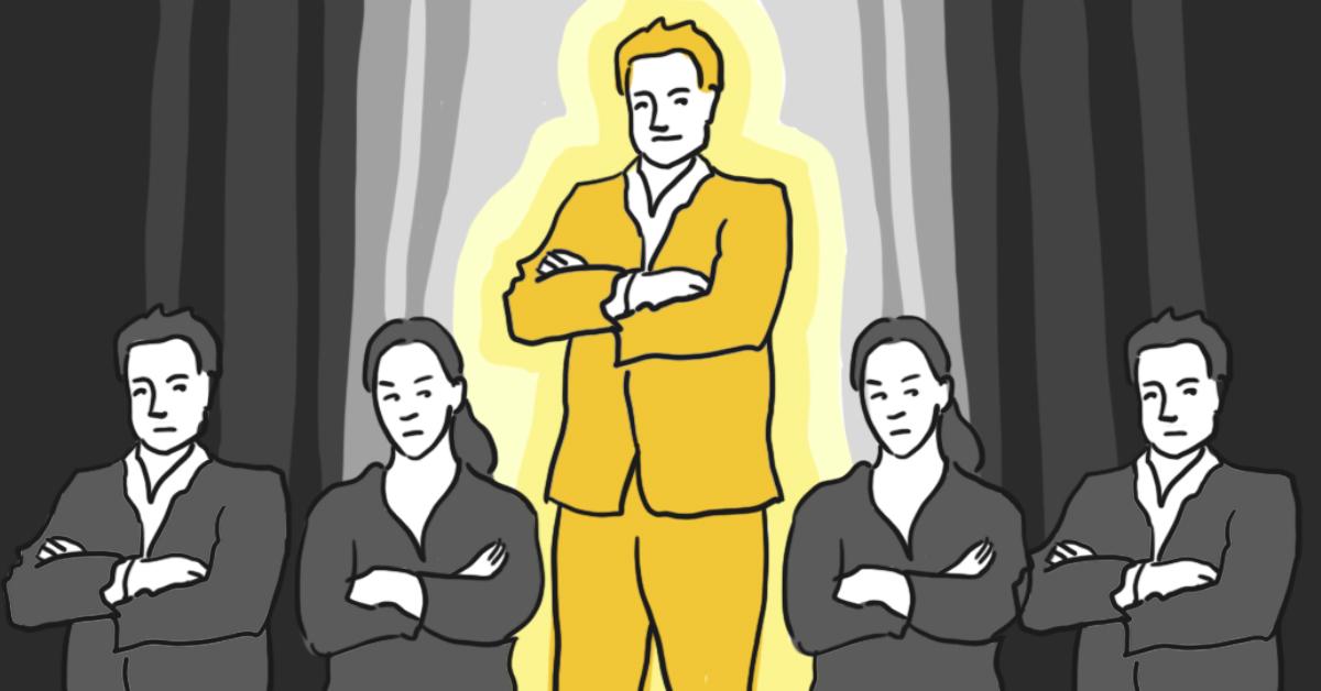 Illustration där mannen i mitten är större och upplyst och kvinnorna bredvid är mindre och gråa – Framfot företagsutbildning