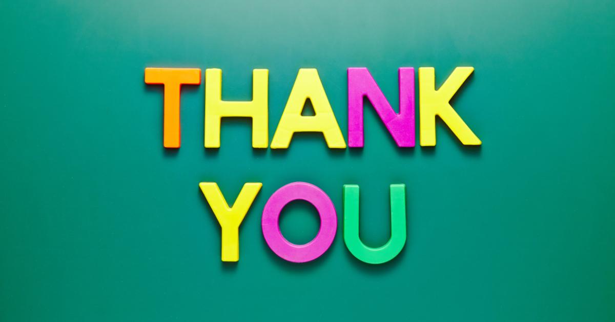 Bild med orden Thank you för att illustrera hur tacksamhet kan användas av ledare och chefer – Framfot företagsutbildning.