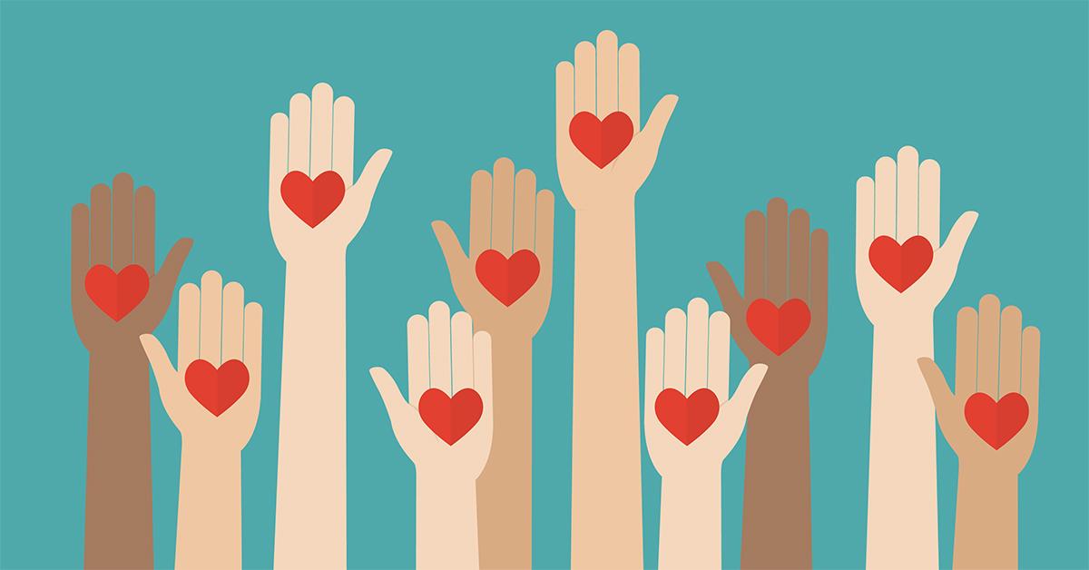 Illustration av händer med hjärtan som symboliserar snällhet och en vilja att hjälpa.