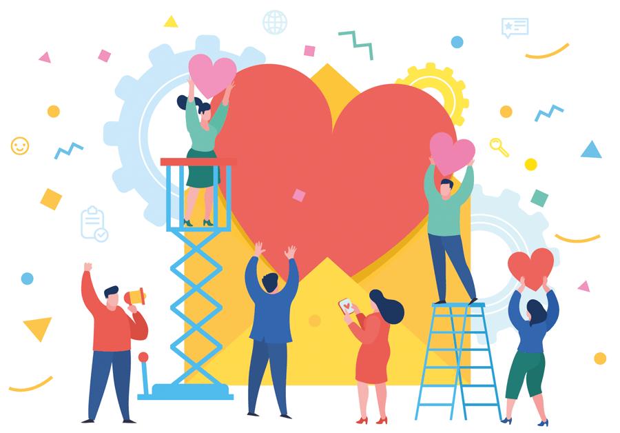 Illustration på människor som jobbar tillsammans för att hänga upp hjärtan.