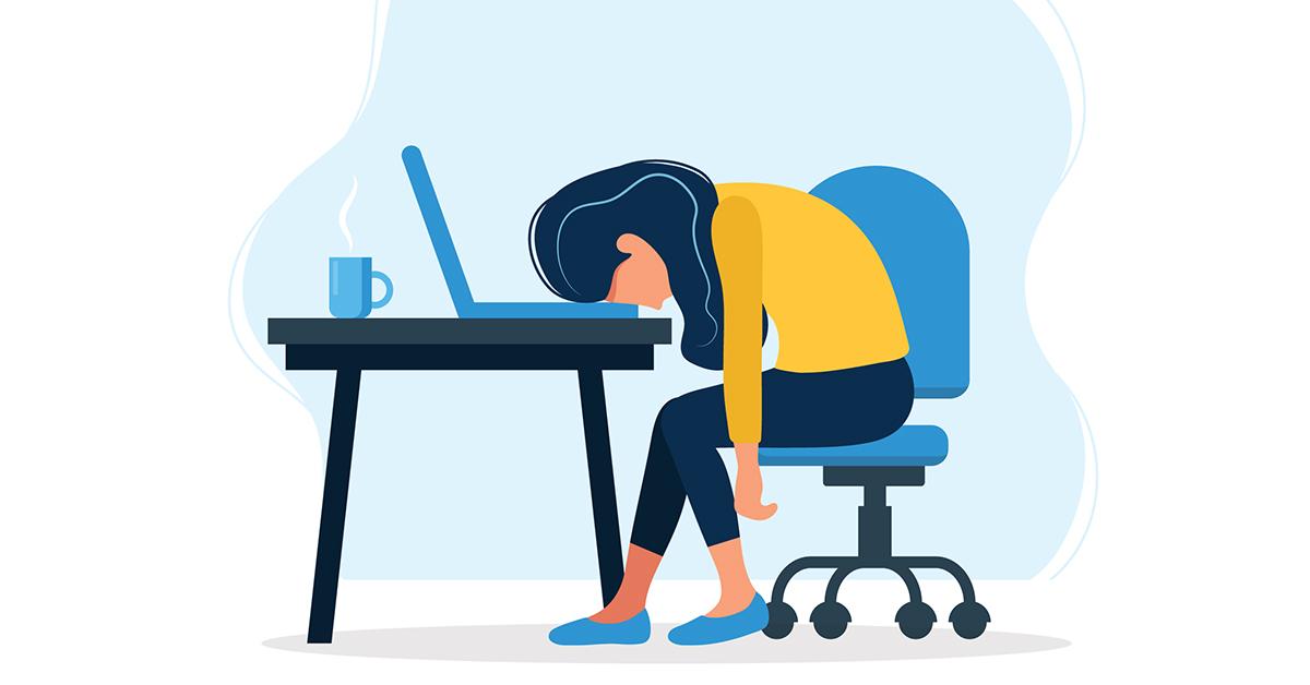 illustration av kvinna som är trött i videomöte