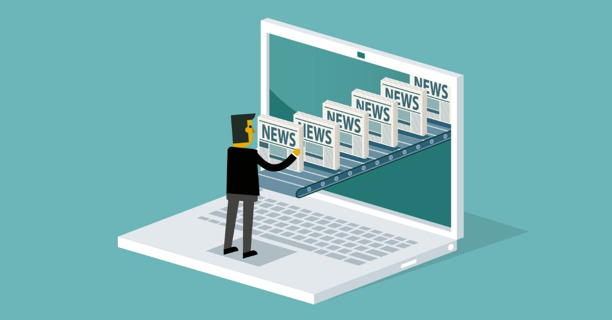 Illustration med tecknad person som tar emot många nyheter på ett rullband ur en datorskärm
