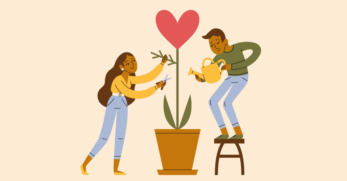 Illustration konstruktiv kritik: två medarbetare trimmar en krukväxt genom att både vattna och klippa.
